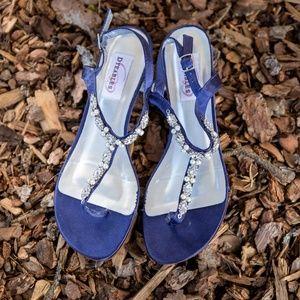 Navy David's Bridal Size 8 Wedge Sandals